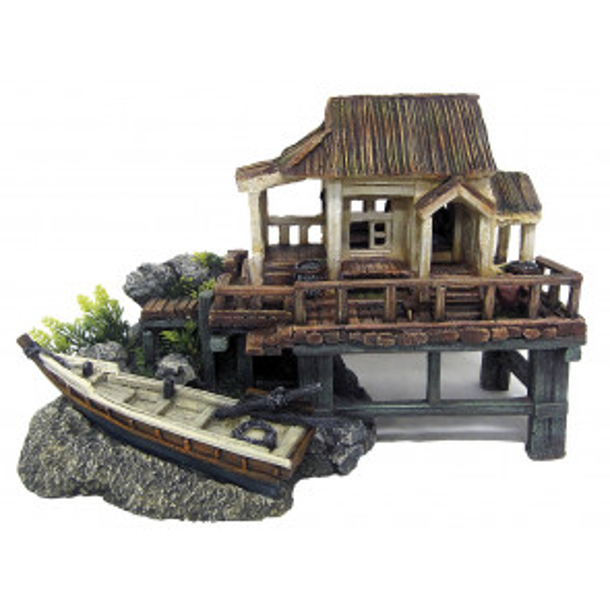 Croci Baita Legno con Barca - Decorazione Acquario