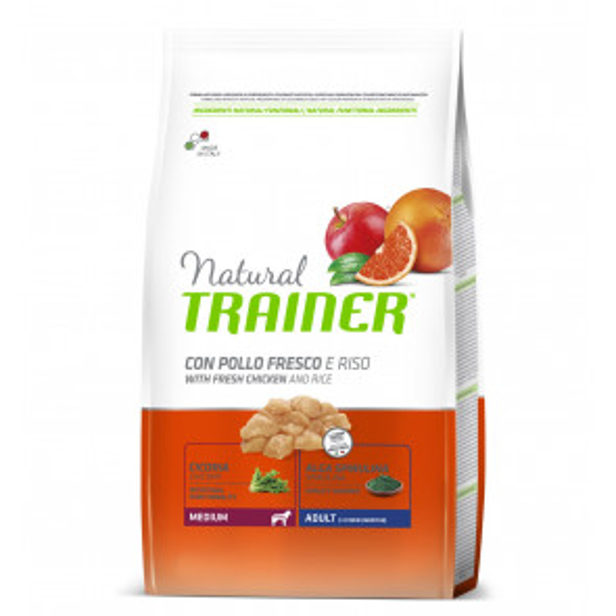 Trainer Natural Medium Pollo, Riso e Alga Spirulina